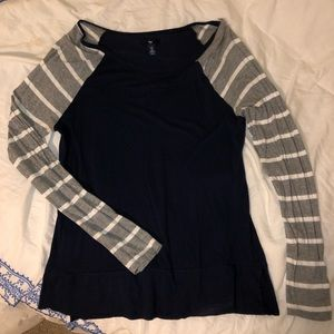 Navy and Striped long sleeve tee